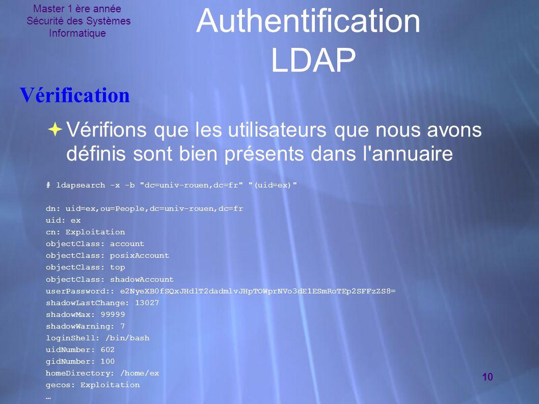 Master 1 ère année Sécurité des Systèmes Informatique 10 Authentification LDAP Vérification  Vérifions que les utilisateurs que nous avons définis sont bien présents dans l annuaire # ldapsearch -x -b dc=univ-rouen,dc=fr (uid=ex) dn: uid=ex,ou=People,dc=univ-rouen,dc=fr uid: ex cn: Exploitation objectClass: account objectClass: posixAccount objectClass: top objectClass: shadowAccount userPassword:: e2NyeXB0fSQxJHdlT2dadmlvJHpTOWprNVo3dE1ESmRoTEp2SFFzZS8= shadowLastChange: 13027 shadowMax: 99999 shadowWarning: 7 loginShell: /bin/bash uidNumber: 602 gidNumber: 100 homeDirectory: /home/ex gecos: Exploitation …  Vérifions que les utilisateurs que nous avons définis sont bien présents dans l annuaire # ldapsearch -x -b dc=univ-rouen,dc=fr (uid=ex) dn: uid=ex,ou=People,dc=univ-rouen,dc=fr uid: ex cn: Exploitation objectClass: account objectClass: posixAccount objectClass: top objectClass: shadowAccount userPassword:: e2NyeXB0fSQxJHdlT2dadmlvJHpTOWprNVo3dE1ESmRoTEp2SFFzZS8= shadowLastChange: 13027 shadowMax: 99999 shadowWarning: 7 loginShell: /bin/bash uidNumber: 602 gidNumber: 100 homeDirectory: /home/ex gecos: Exploitation …