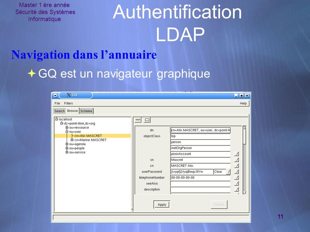 Master 1 ère année Sécurité des Systèmes Informatique 11 Authentification LDAP  GQ est un navigateur graphique Navigation dans l'annuaire