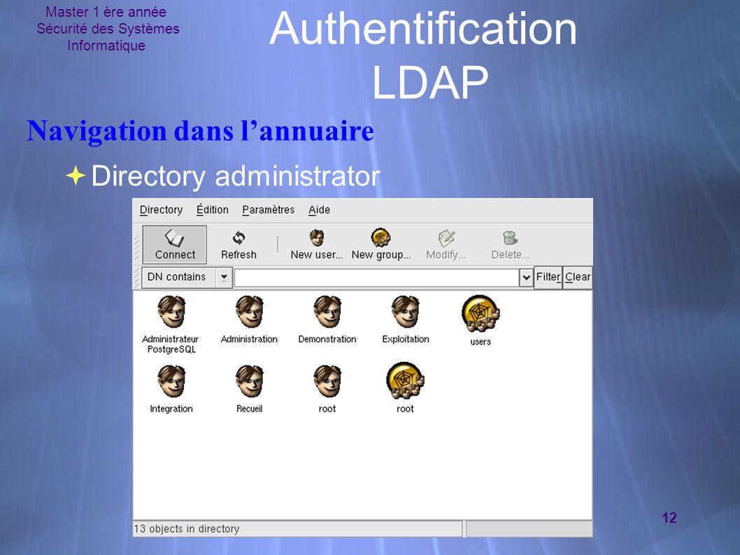 Master 1 ère année Sécurité des Systèmes Informatique 12 Authentification LDAP  Directory administrator Navigation dans l'annuaire