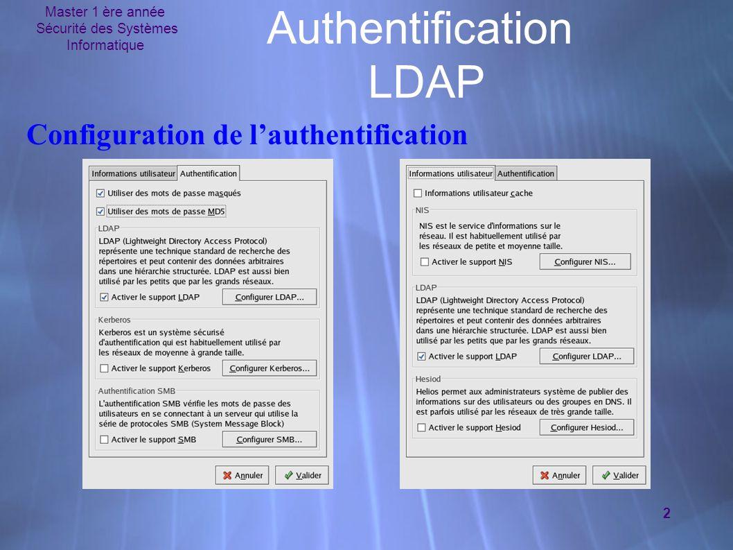Master 1 ère année Sécurité des Systèmes Informatique 2 Authentification LDAP Configuration de l'authentification
