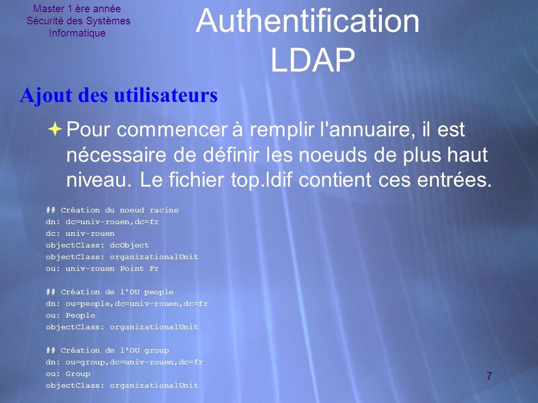 Master 1 ère année Sécurité des Systèmes Informatique 7 Authentification LDAP Ajout des utilisateurs  Pour commencer à remplir l annuaire, il est nécessaire de définir les noeuds de plus haut niveau.