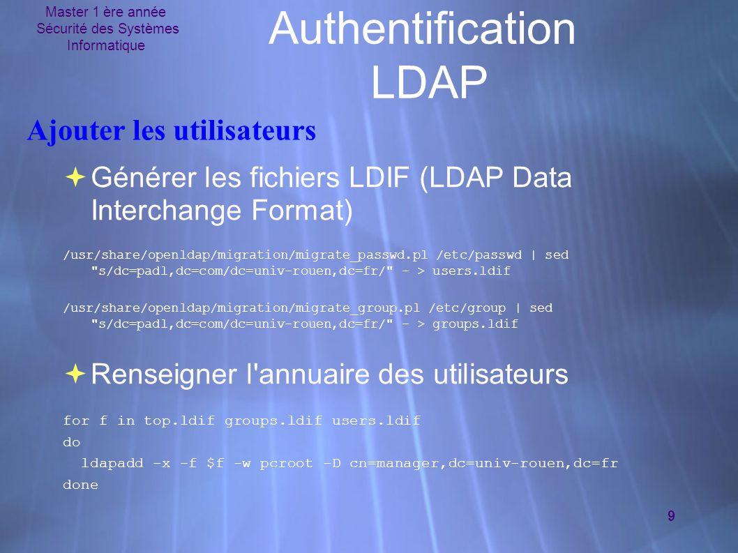Master 1 ère année Sécurité des Systèmes Informatique 9 Authentification LDAP Ajouter les utilisateurs  Générer les fichiers LDIF (LDAP Data Interchange Format) /usr/share/openldap/migration/migrate_passwd.pl /etc/passwd | sed s/dc=padl,dc=com/dc=univ-rouen,dc=fr/ - > users.ldif /usr/share/openldap/migration/migrate_group.pl /etc/group | sed s/dc=padl,dc=com/dc=univ-rouen,dc=fr/ - > groups.ldif  Renseigner l annuaire des utilisateurs for f in top.ldif groups.ldif users.ldif do ldapadd -x -f $f -w pcroot -D cn=manager,dc=univ-rouen,dc=fr done  Générer les fichiers LDIF (LDAP Data Interchange Format) /usr/share/openldap/migration/migrate_passwd.pl /etc/passwd | sed s/dc=padl,dc=com/dc=univ-rouen,dc=fr/ - > users.ldif /usr/share/openldap/migration/migrate_group.pl /etc/group | sed s/dc=padl,dc=com/dc=univ-rouen,dc=fr/ - > groups.ldif  Renseigner l annuaire des utilisateurs for f in top.ldif groups.ldif users.ldif do ldapadd -x -f $f -w pcroot -D cn=manager,dc=univ-rouen,dc=fr done