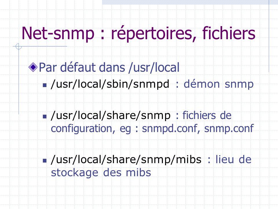 Net-snmp : répertoires, fichiers Par défaut dans /usr/local /usr/local/sbin/snmpd : démon snmp /usr/local/share/snmp : fichiers de configuration, eg :