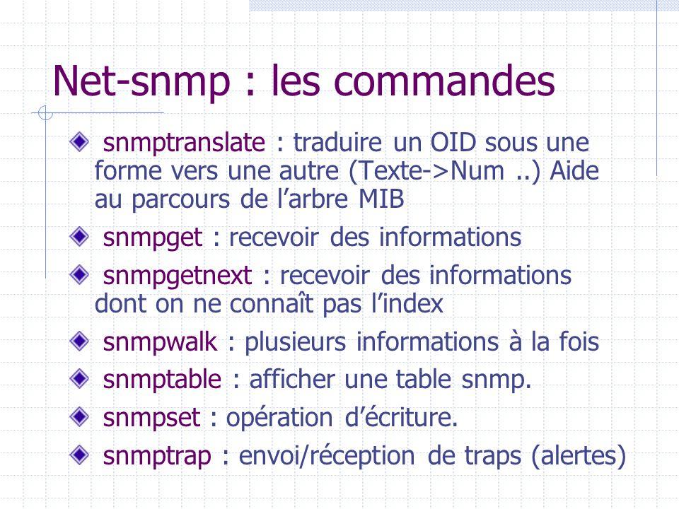 Net-snmp : les commandes snmptranslate : traduire un OID sous une forme vers une autre (Texte->Num..) Aide au parcours de l'arbre MIB snmpget : recevo