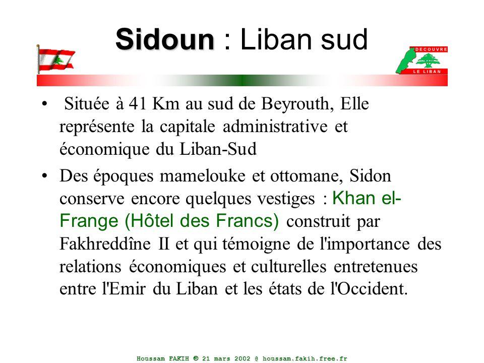 Houssam FAKIH  21 mars 2002 @ houssam.fakih.free.fr Sidoun Sidoun : Liban sud Située à 41 Km au sud de Beyrouth, Elle représente la capitale administ
