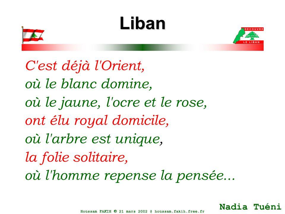 Houssam FAKIH  21 mars 2002 @ houssam.fakih.free.fr Liban C'est déjà l'Orient, où le blanc domine, où le jaune, l'ocre et le rose, ont élu royal domi