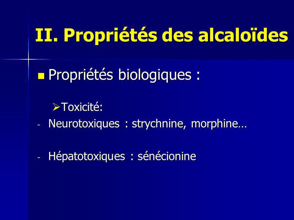 II. Propriétés des alcaloïdes Propriétés biologiques : Propriétés biologiques :  Toxicité: - Neurotoxiques : strychnine, morphine… - Hépatotoxiques :