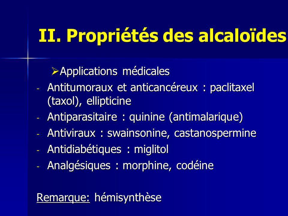 II. Propriétés des alcaloïdes  Applications médicales - Antitumoraux et anticancéreux : paclitaxel (taxol), ellipticine - Antiparasitaire : quinine (