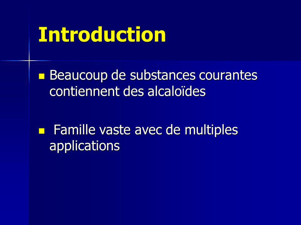 Plan I.Présentation des alcaloïdes 1) Définition et structure 2) Sources II.