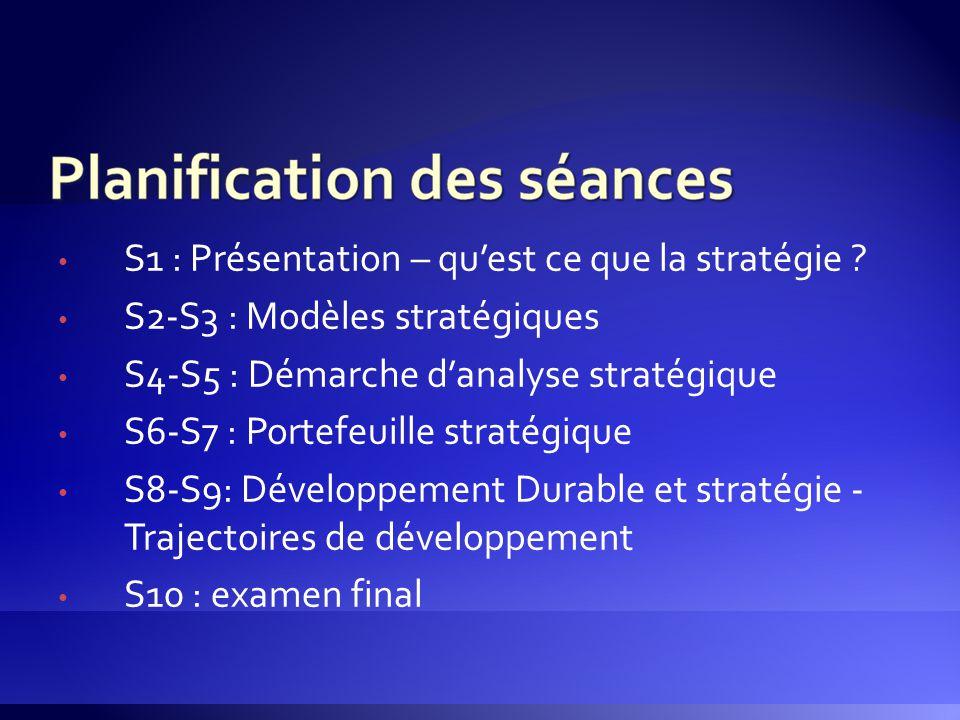 S1 : Présentation – qu'est ce que la stratégie ? S2-S3 : Modèles stratégiques S4-S5 : Démarche d'analyse stratégique S6-S7 : Portefeuille stratégique