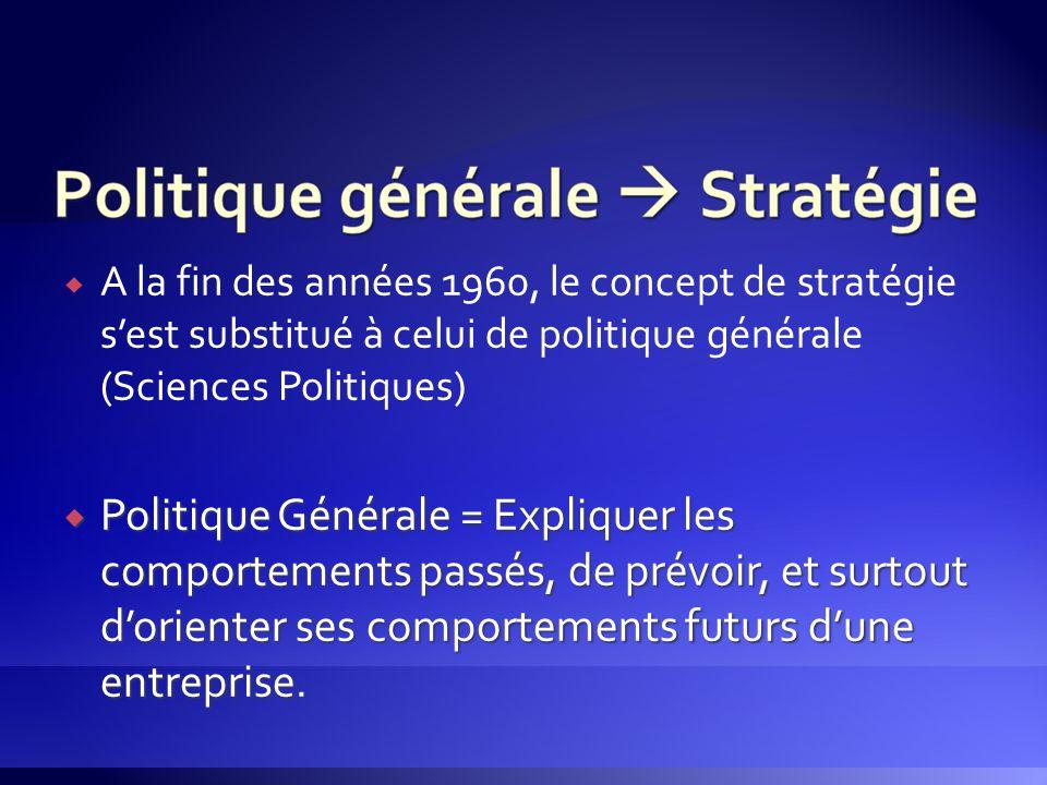  A la fin des années 1960, le concept de stratégie s'est substitué à celui de politique générale (Sciences Politiques)  Politique Générale = Expliqu