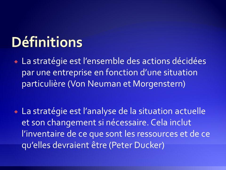  La stratégie est l'ensemble des actions décidées par une entreprise en fonction d'une situation particulière (Von Neuman et Morgenstern)  La straté