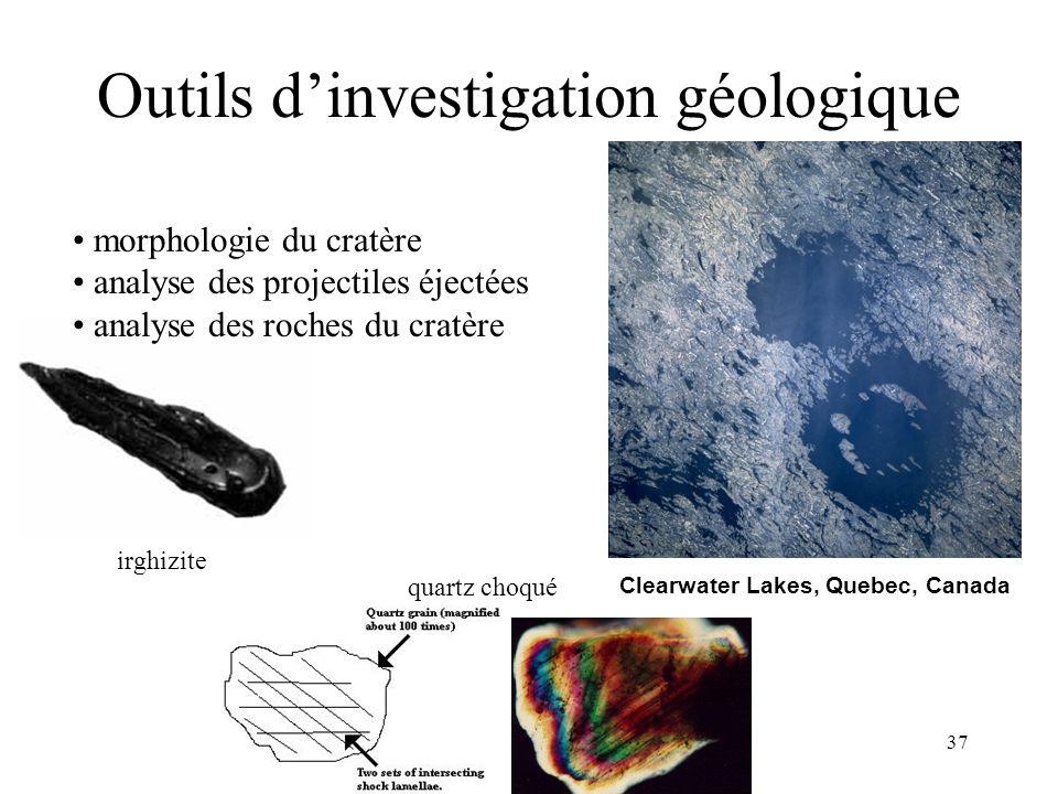 37 irghizite Outils d'investigation géologique morphologie du cratère analyse des projectiles éjectées analyse des roches du cratère Clearwater Lakes,