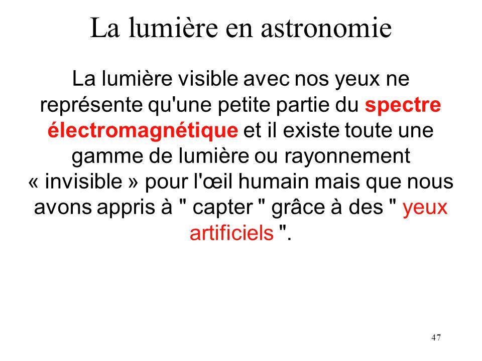 47 La lumière visible avec nos yeux ne représente qu'une petite partie du spectre électromagnétique et il existe toute une gamme de lumière ou rayonne