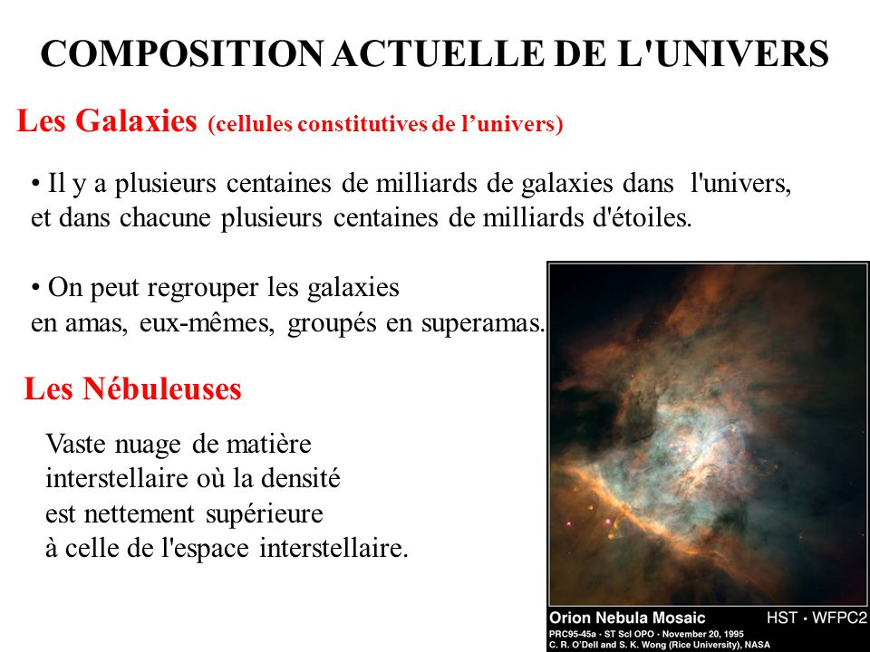 7 COMPOSITION ACTUELLE DE L'UNIVERS Il y a plusieurs centaines de milliards de galaxies dans l'univers, et dans chacune plusieurs centaines de milliar