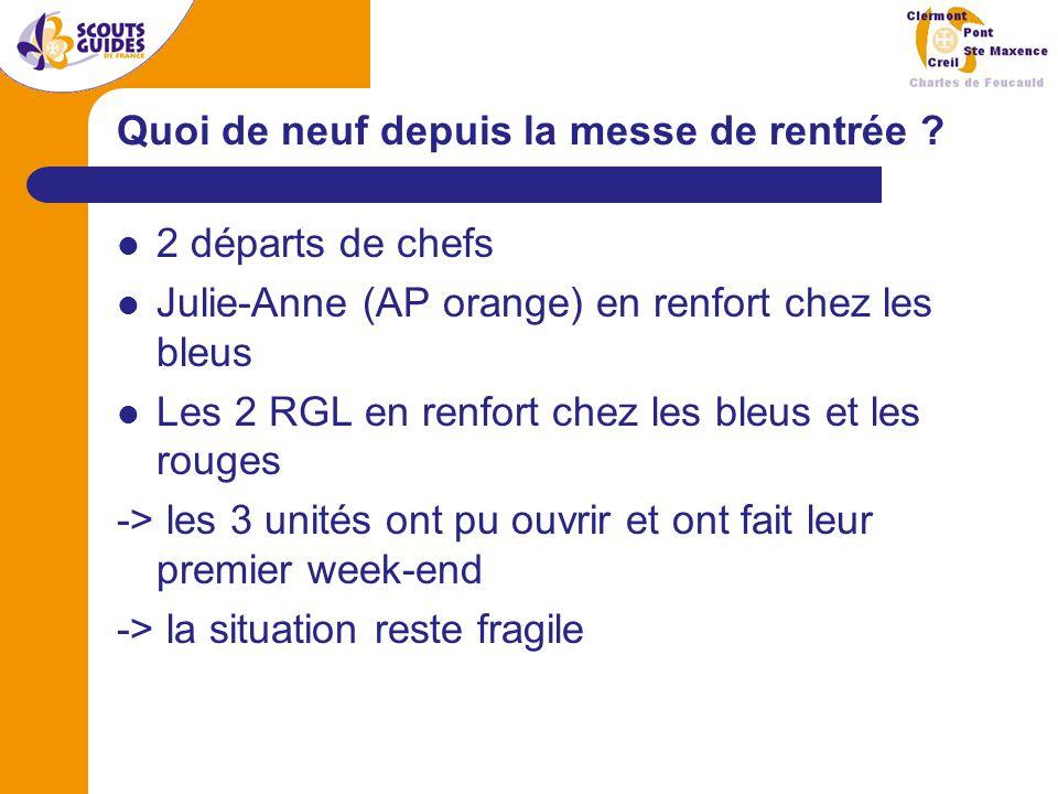 Effectifs au 01/01/2009 10 louveteaux et jeannettes (17 en 2007/2008) 10 scouts et guides (22 en 2007/2008) 12 pionniers et caravelles (15 en 2007/2008) 9 chefs et équipe de groupe (13 +2 en 2007/2008) Fermeture de PontFermeture de Clermont