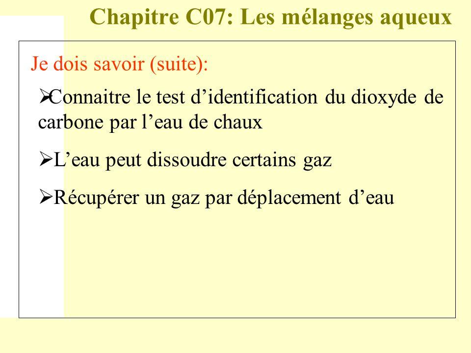 Chapitre C07: Les mélanges aqueux Je dois savoir (suite):  Connaitre le test d'identification du dioxyde de carbone par l'eau de chaux  L'eau peut d