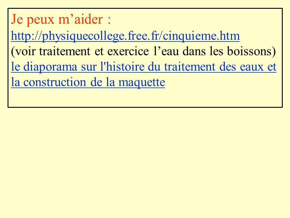 Je peux m'aider : http://physiquecollege.free.fr/cinquieme.htm (voir traitement et exercice l'eau dans les boissons) le diaporama sur l'histoire du tr