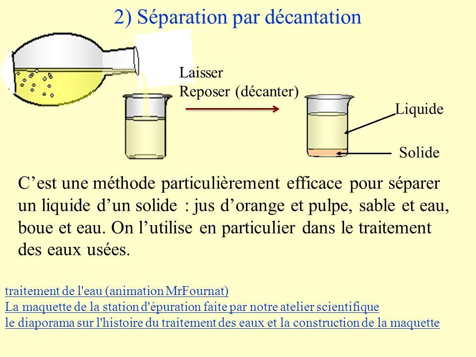 2) Séparation par décantation Solide Liquide Laisser Reposer (décanter) C'est une méthode particulièrement efficace pour séparer un liquide d'un solide : jus d'orange et pulpe, sable et eau, boue et eau.