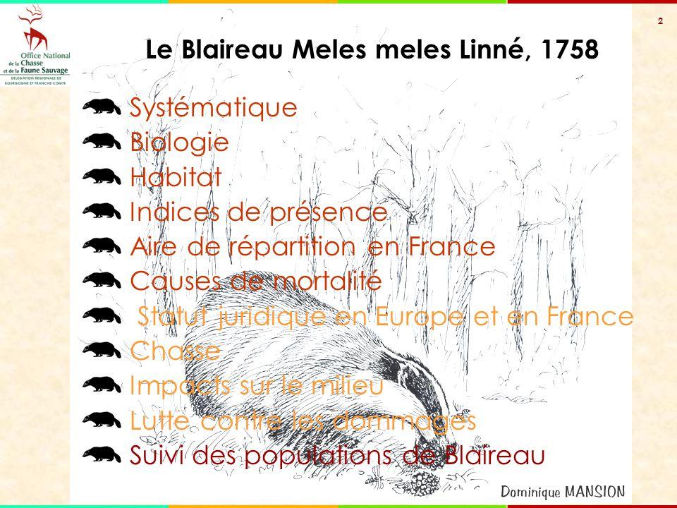 2 Systématique Biologie Habitat Indices de présence Aire de répartition en France Causes de mortalité Statut juridique en Europe et en France Chasse I