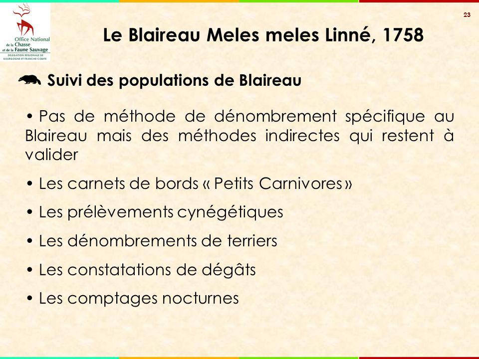 23 Le Blaireau Meles meles Linné, 1758 Suivi des populations de Blaireau Pas de méthode de dénombrement spécifique au Blaireau mais des méthodes indir