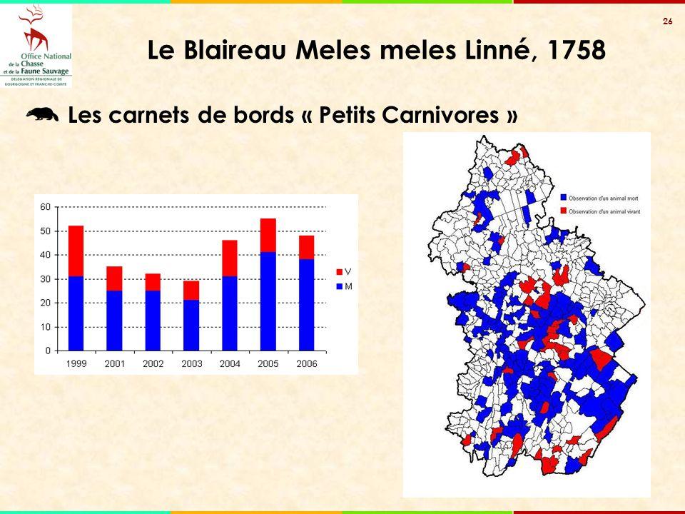 26 Le Blaireau Meles meles Linné, 1758 Les carnets de bords « Petits Carnivores »