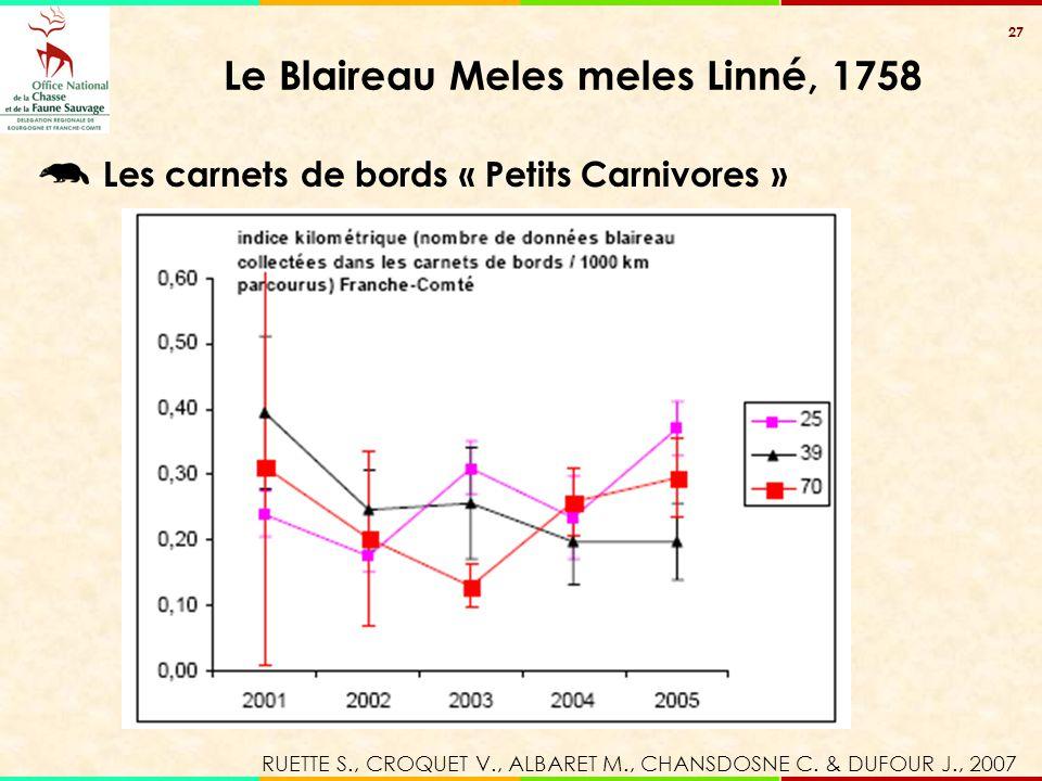 27 Le Blaireau Meles meles Linné, 1758 Les carnets de bords « Petits Carnivores » RUETTE S., CROQUET V., ALBARET M., CHANSDOSNE C. & DUFOUR J., 2007
