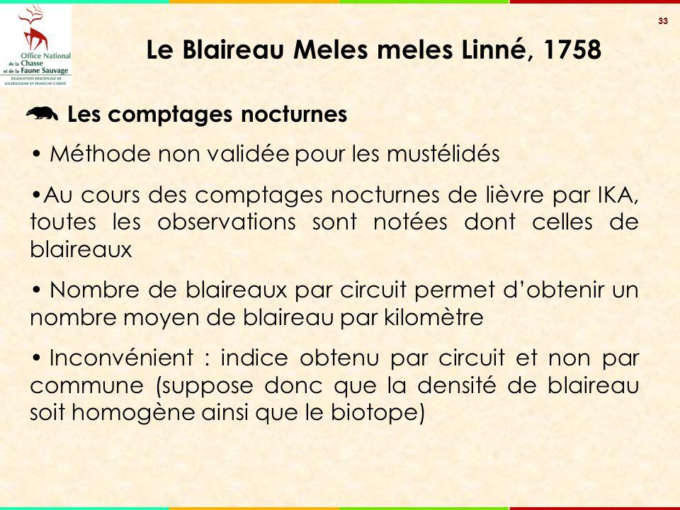 33 Le Blaireau Meles meles Linné, 1758 Les comptages nocturnes Méthode non validée pour les mustélidés Au cours des comptages nocturnes de lièvre par