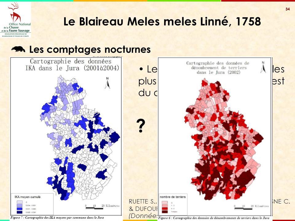 34 Le Blaireau Meles meles Linné, 1758 Les comptages nocturnes (Données : FDC 39) Le nombre d'individus les plus élevés sont situés à l'est du départe