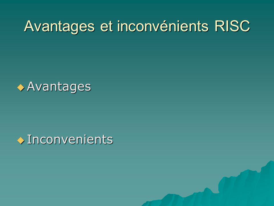 Avantages et inconvénients RISC  Avantages  Inconvenients