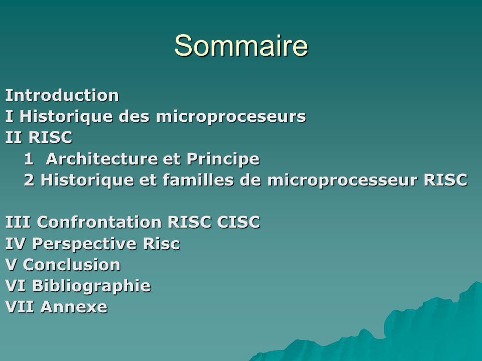 Sommaire Introduction I Historique des microproceseurs II RISC 1 Architecture et Principe 2 Historique et familles de microprocesseur RISC III Confrontation RISC CISC IV Perspective Risc V Conclusion VI Bibliographie VII Annexe