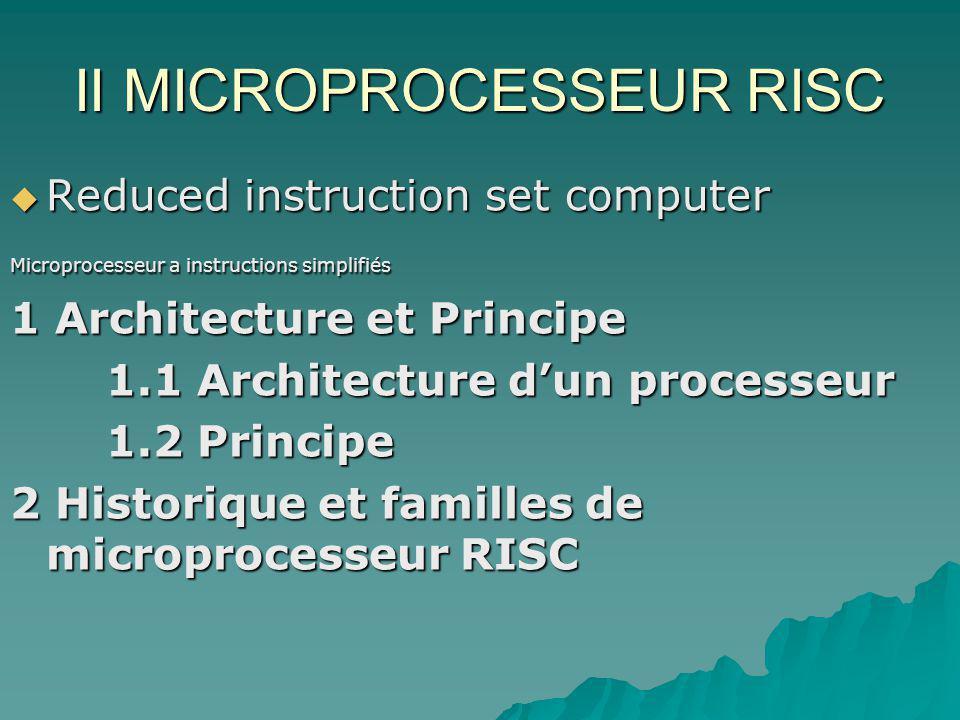 II MICROPROCESSEUR RISC  Reduced instruction set computer Microprocesseur a instructions simplifiés 1 Architecture et Principe 1.1 Architecture d'un processeur 1.2 Principe 2 Historique et familles de microprocesseur RISC