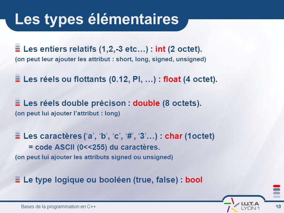 Bases de la programmation en C++ 10 Les types élémentaires Les entiers relatifs (1,2,-3 etc…) : int (2 octet).
