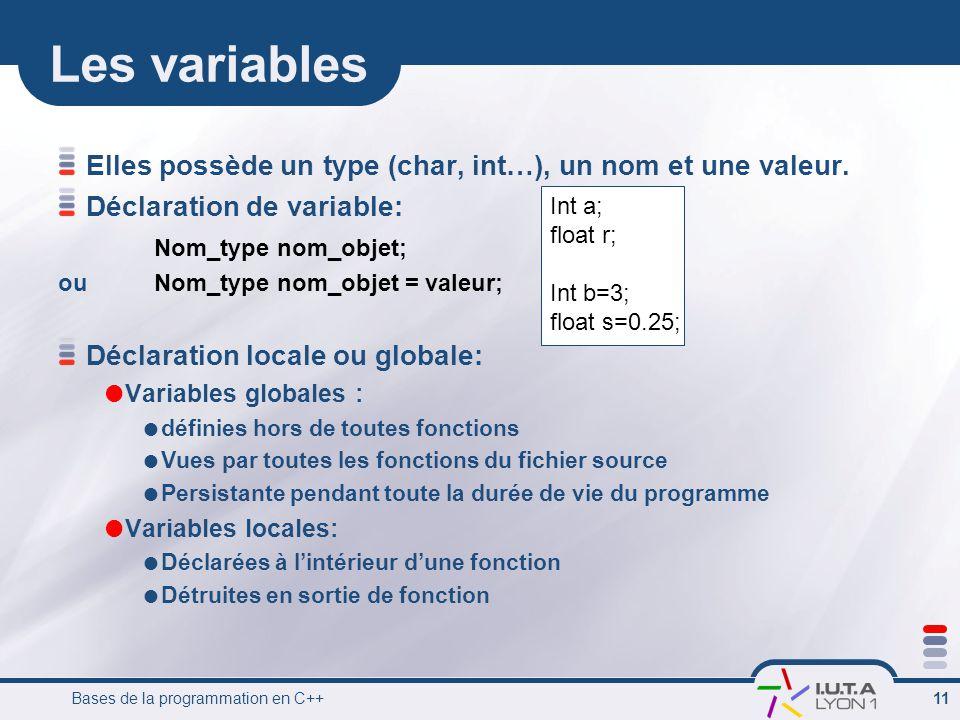 Bases de la programmation en C++ 11 Les variables Elles possède un type (char, int…), un nom et une valeur.