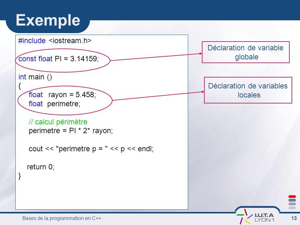 Bases de la programmation en C++ 13 Exemple #include const float PI = 3.14159; int main () { floatrayon = 5.458; float perimetre; // calcul périmètre perimetre = PI * 2* rayon; cout << perimetre p = << p << endl; return 0; } Déclaration de variable globale Déclaration de variables locales