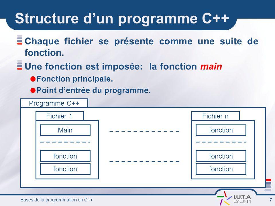 Bases de la programmation en C++ 7 Programme C++ Structure d'un programme C++ Chaque fichier se présente comme une suite de fonction.