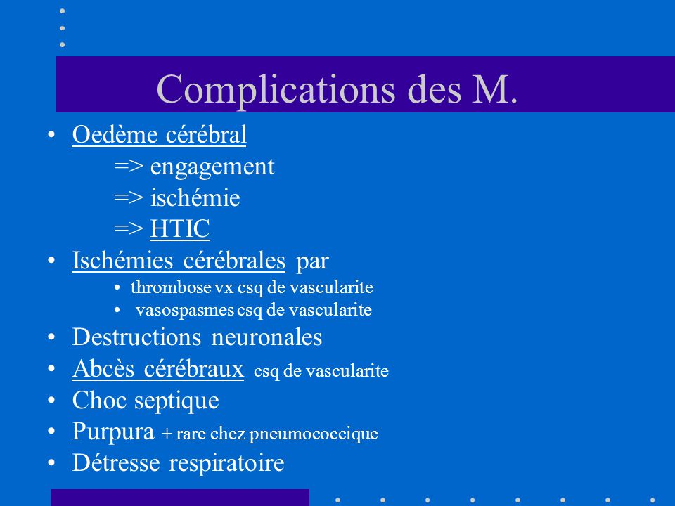 Complications des M.
