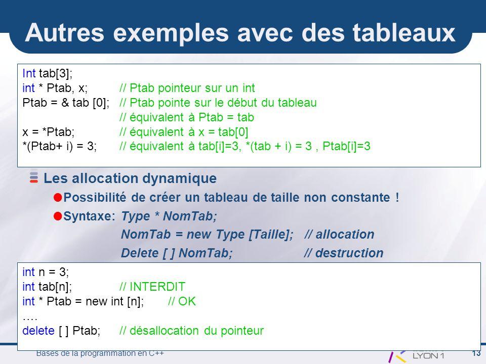 Bases de la programmation en C++ 13 Autres exemples avec des tableaux Int tab[3]; int * Ptab, x;// Ptab pointeur sur un int Ptab = & tab [0];// Ptab pointe sur le début du tableau // équivalent à Ptab = tab x = *Ptab;// équivalent à x = tab[0] *(Ptab+ i) = 3;// équivalent à tab[i]=3, *(tab + i) = 3, Ptab[i]=3 Les allocation dynamique  Possibilité de créer un tableau de taille non constante .