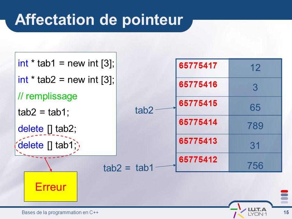 Bases de la programmation en C++ 15 Affectation de pointeur int * tab1 = new int [3]; int * tab2 = new int [3]; // remplissage tab2 = tab1; delete [] tab2; delete [] tab1; 65775417 65775416 65775415 65775414 65775413 65775412 tab1 tab2 tab2 = 12 3 65 789 31 756 Erreur
