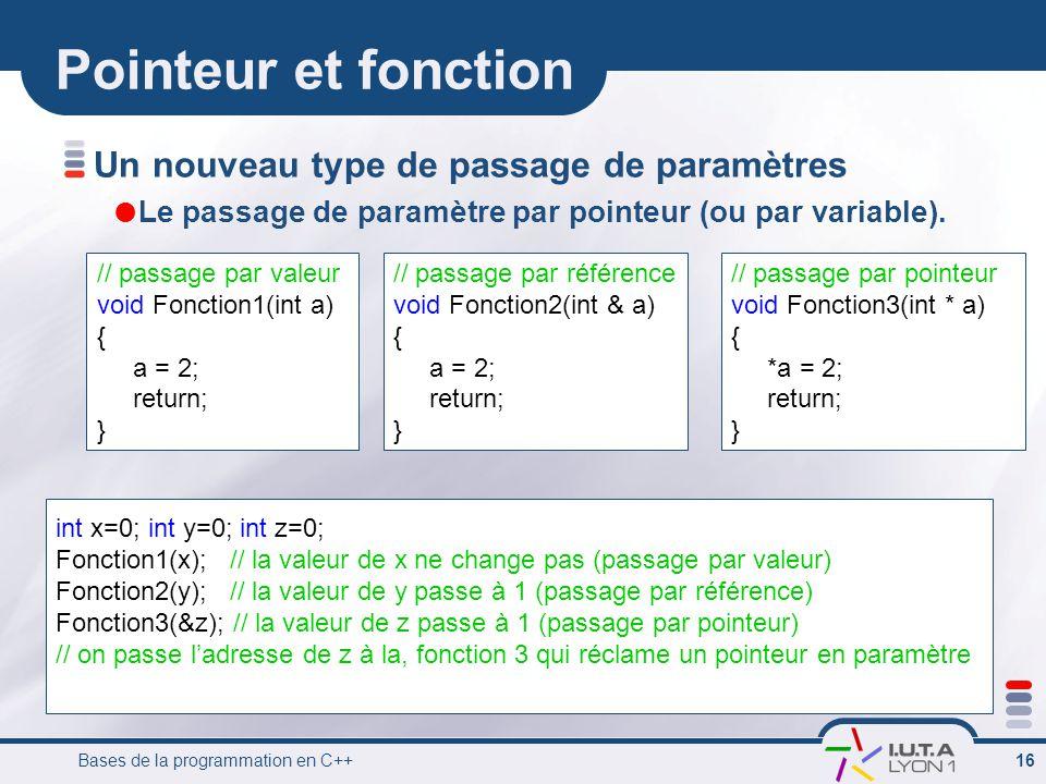 Bases de la programmation en C++ 16 Pointeur et fonction Un nouveau type de passage de paramètres  Le passage de paramètre par pointeur (ou par variable).