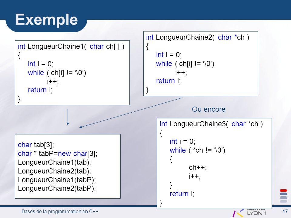 Bases de la programmation en C++ 17 Exemple int LongueurChaine1( char ch[ ] ) { int i = 0; while ( ch[i] != '\0') i++; return i; } int LongueurChaine2( char *ch ) { int i = 0; while ( ch[i] != '\0') i++; return i; } char tab[3]; char * tabP=new char[3]; LongueurChaine1(tab); LongueurChaine2(tab); LongueurChaine1(tabP); LongueurChaine2(tabP); int LongueurChaine3( char *ch ) { int i = 0; while ( *ch != '\0') { ch++; i++; } return i; } Ou encore