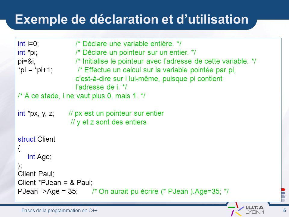Bases de la programmation en C++ 5 Exemple de déclaration et d'utilisation int i=0; /* Déclare une variable entière. */ int *pi; /* Déclare un pointeu