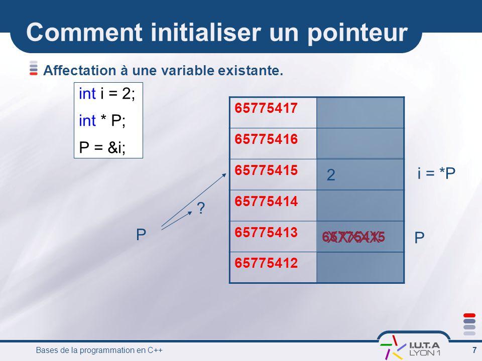 Bases de la programmation en C++ 8 Comment initialiser un pointeur Affectation à une variable existante.
