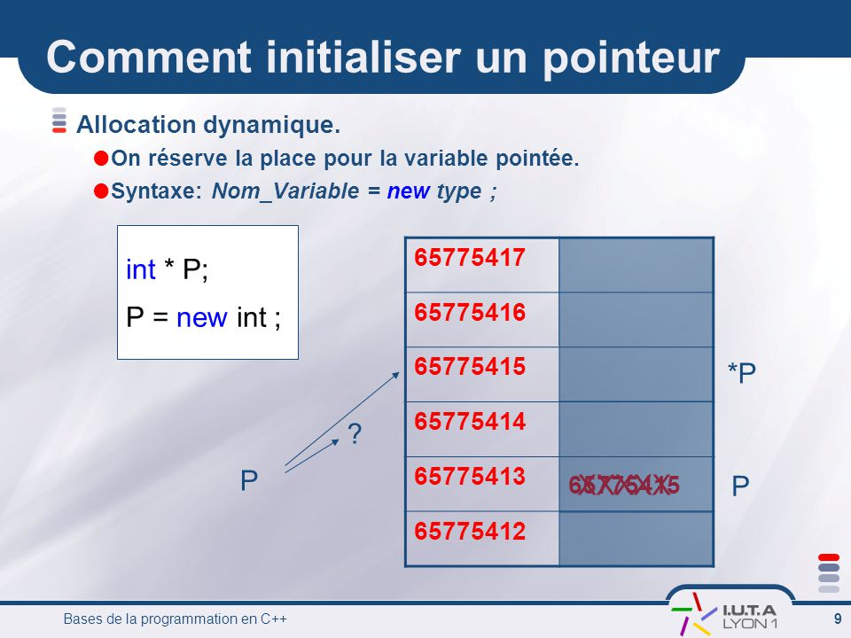 Bases de la programmation en C++ 9 Comment initialiser un pointeur Allocation dynamique.  On réserve la place pour la variable pointée.  Syntaxe: No