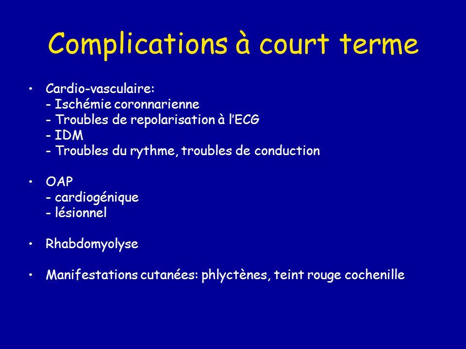 Complications à court terme Cardio-vasculaire: - Ischémie coronnarienne - Troubles de repolarisation à l'ECG - IDM - Troubles du rythme, troubles de c