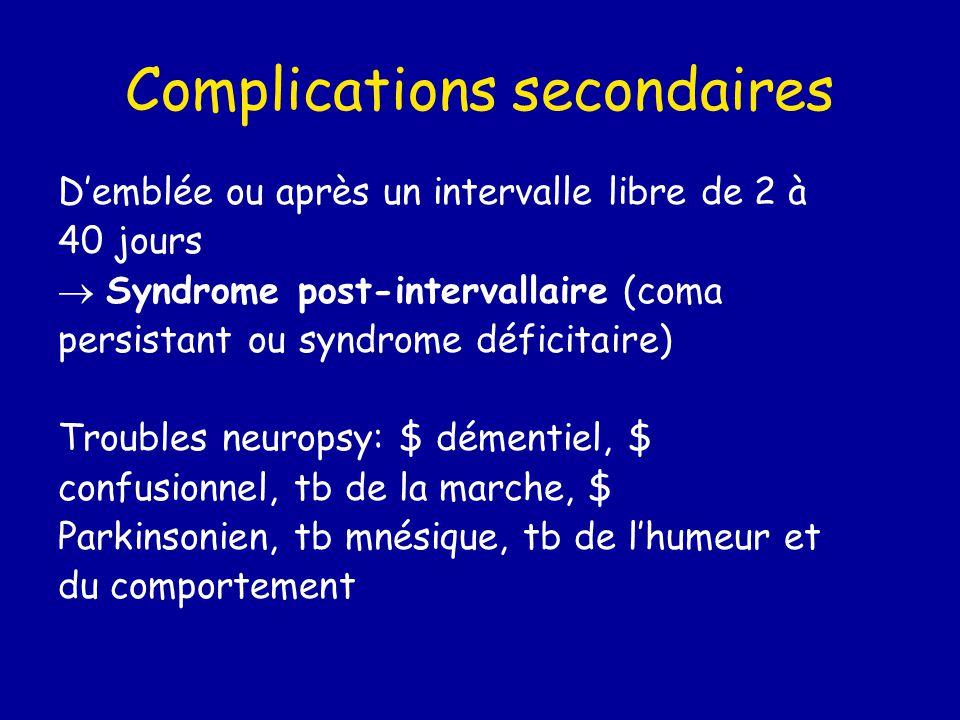 Complications secondaires D'emblée ou après un intervalle libre de 2 à 40 jours  Syndrome post-intervallaire (coma persistant ou syndrome déficitaire