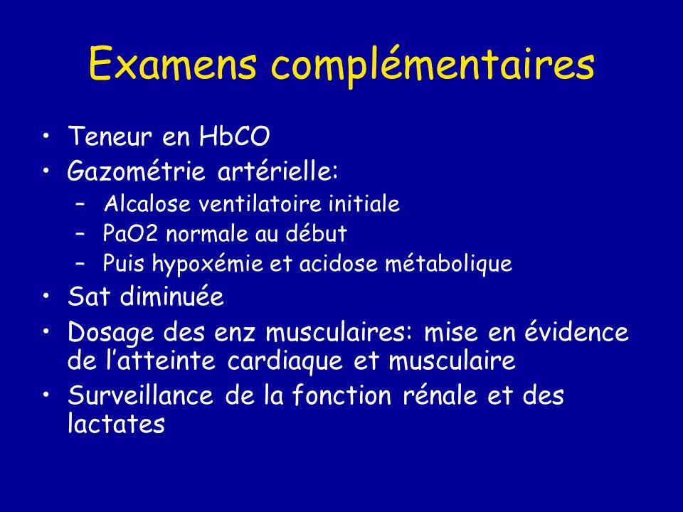 Examens complémentaires Teneur en HbCO Gazométrie artérielle: – Alcalose ventilatoire initiale – PaO2 normale au début – Puis hypoxémie et acidose mét