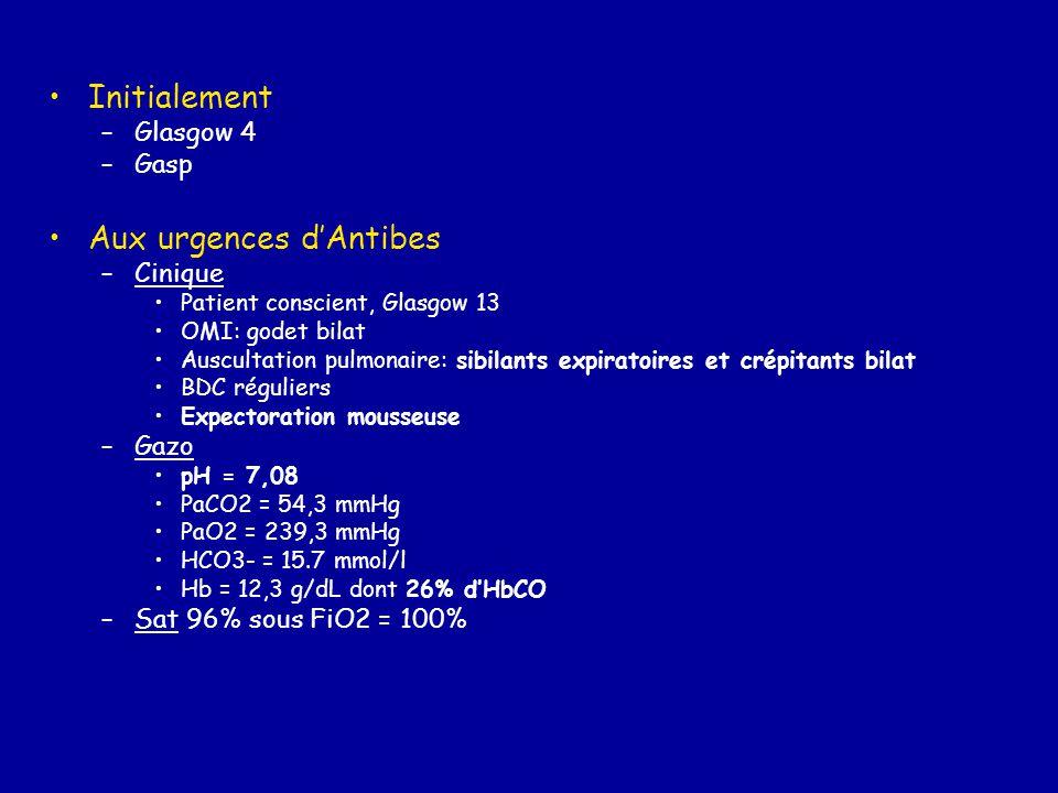Initialement –Glasgow 4 –Gasp Aux urgences d'Antibes –Cinique Patient conscient, Glasgow 13 OMI: godet bilat Auscultation pulmonaire: sibilants expira