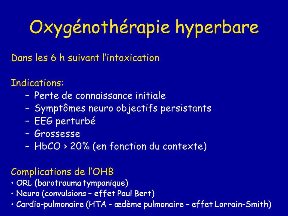 Oxygénothérapie hyperbare Dans les 6 h suivant l'intoxication Indications: –Perte de connaissance initiale –Symptômes neuro objectifs persistants –EEG