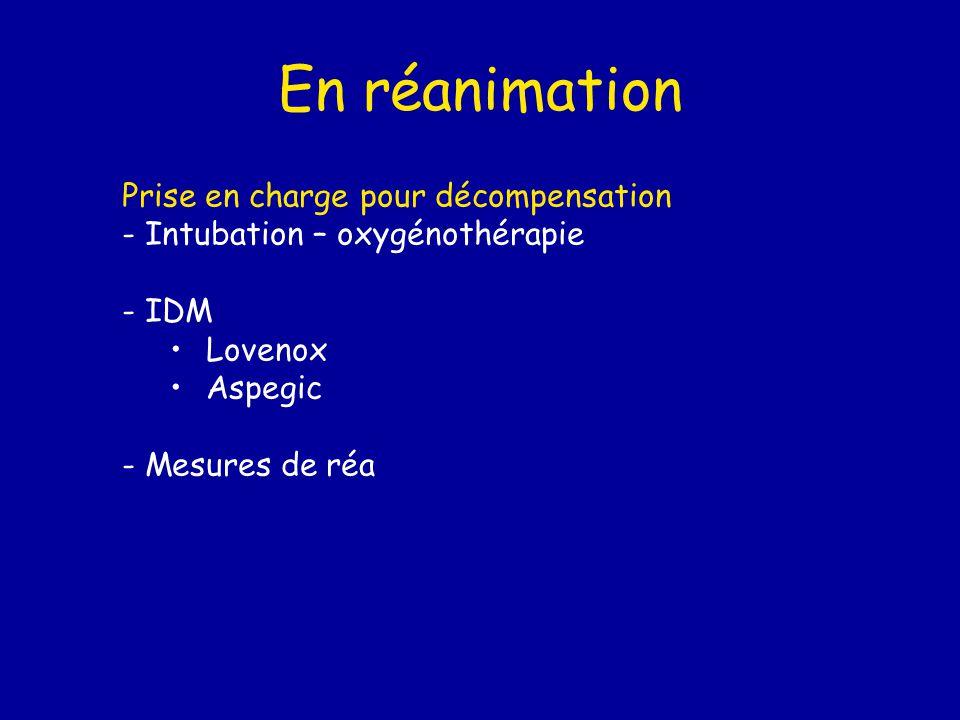 En réanimation Prise en charge pour décompensation - Intubation – oxygénothérapie - IDM Lovenox Aspegic - Mesures de réa